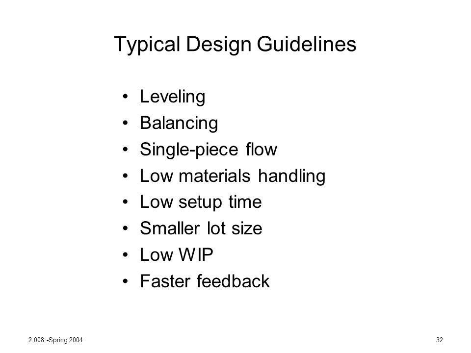 Typical Design Guidelines