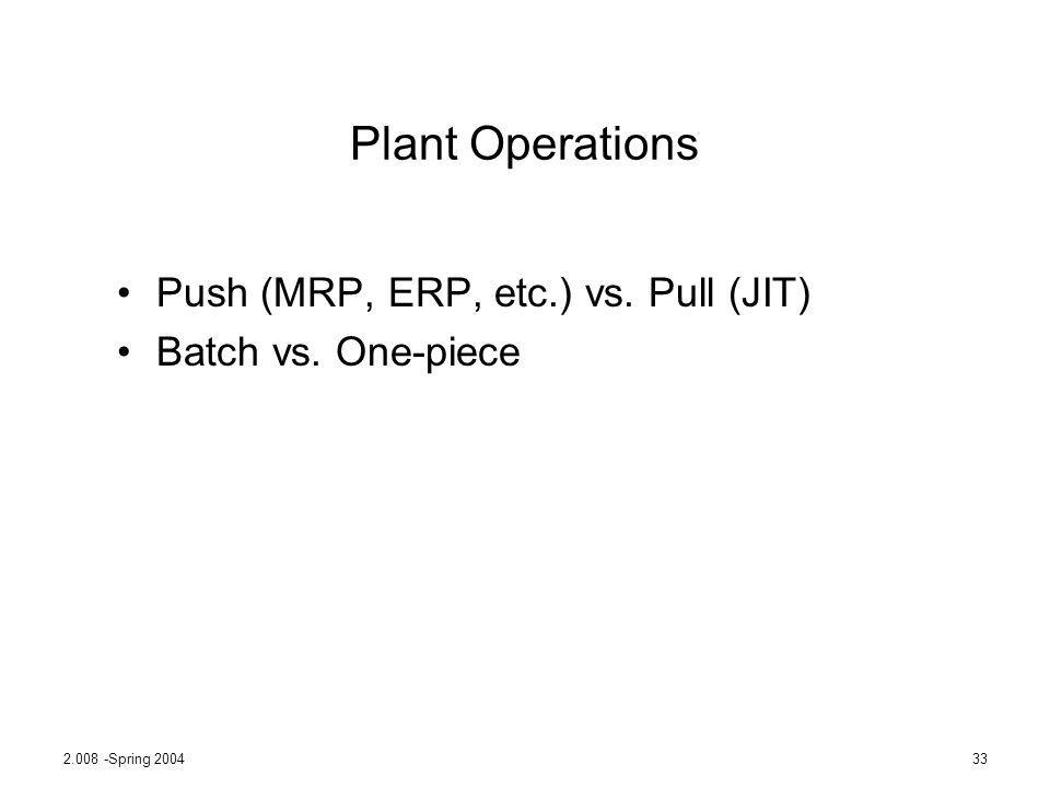 Plant Operations Push (MRP, ERP, etc.) vs. Pull (JIT)