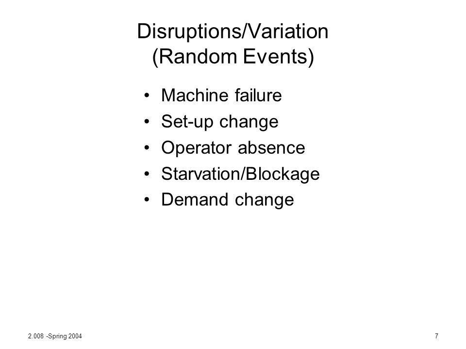 Disruptions/Variation (Random Events)