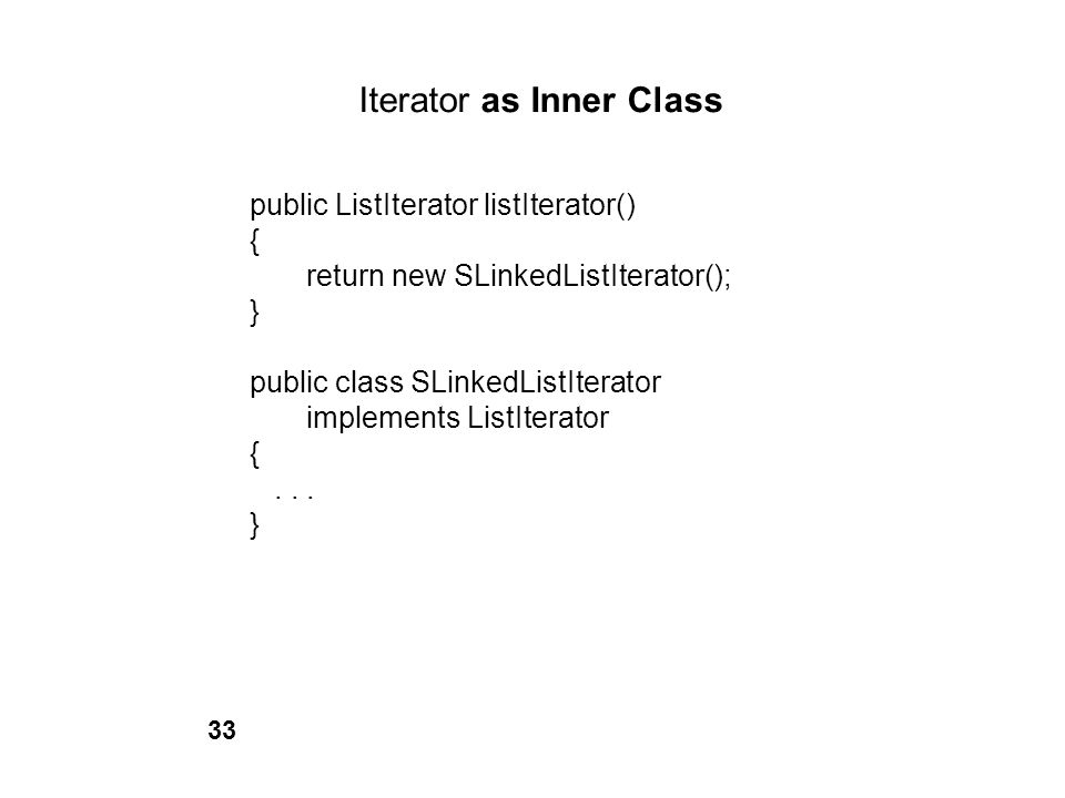 Iterator as Inner Class