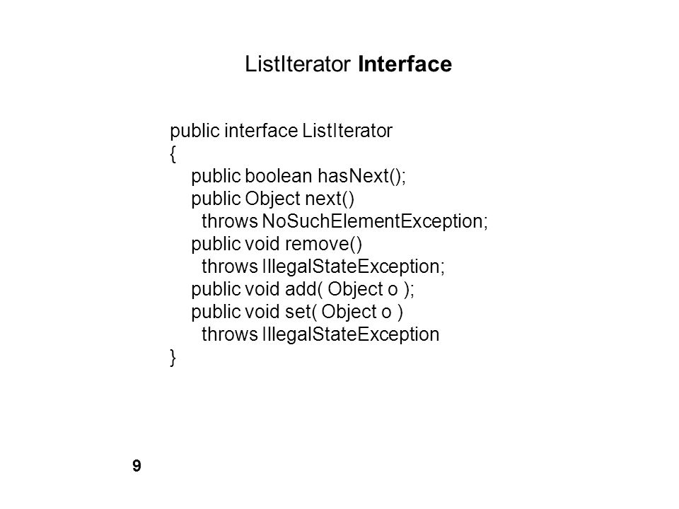 ListIterator Interface