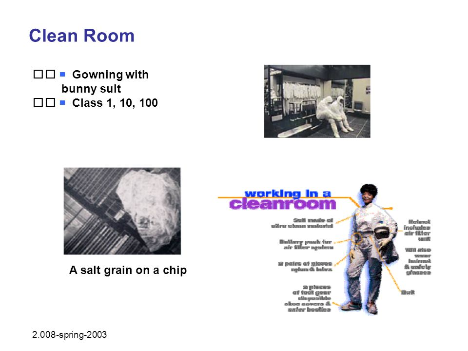 Clean Room   Gowning with bunny suit   Class 1, 10, 100