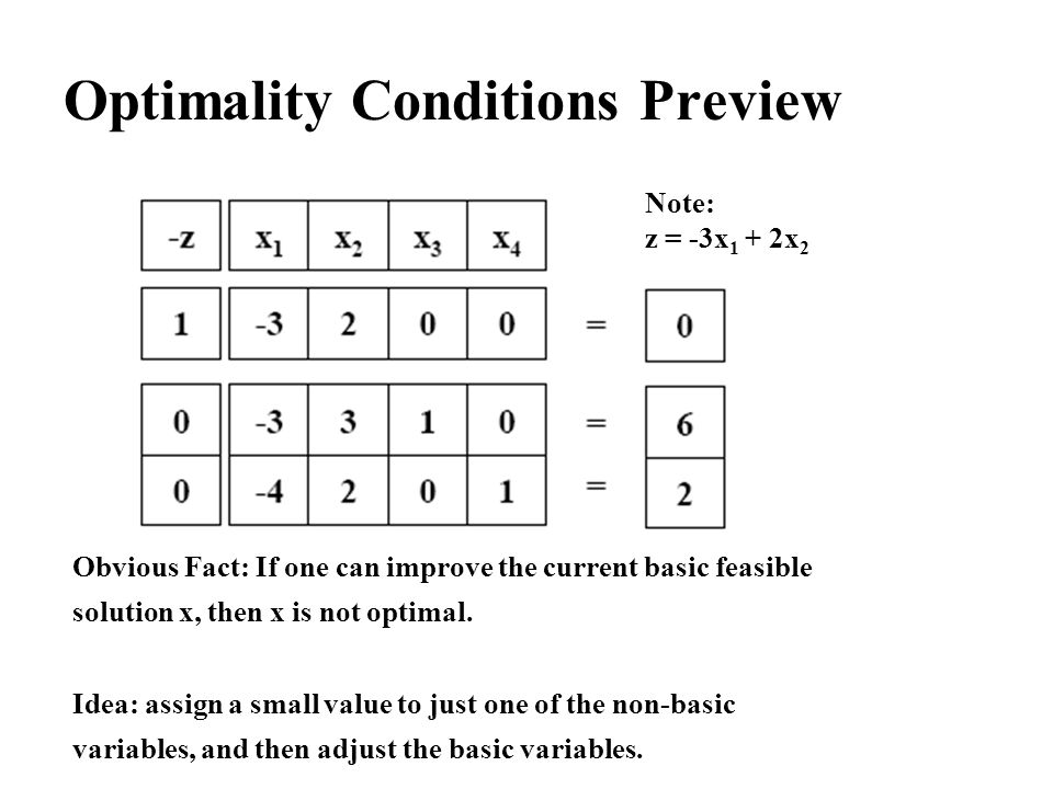 Optimality Conditions Preview