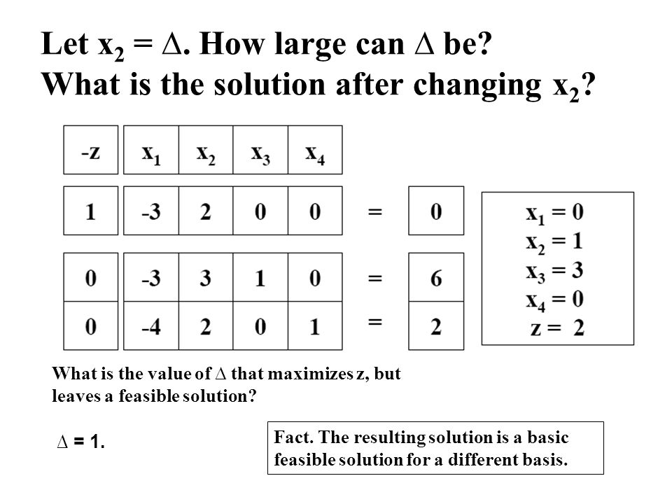 Let x2 = ∆. How large can ∆ be What is the solution after changing x2
