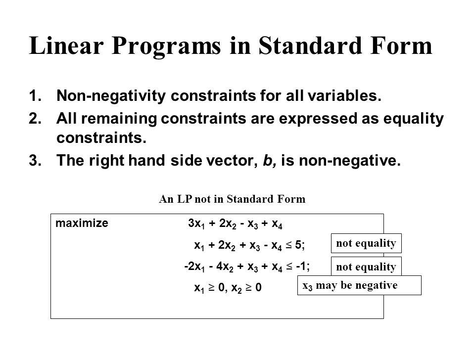 Linear Programs in Standard Form