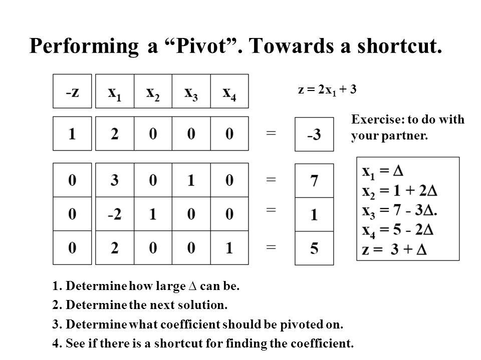 Performing a Pivot . Towards a shortcut.
