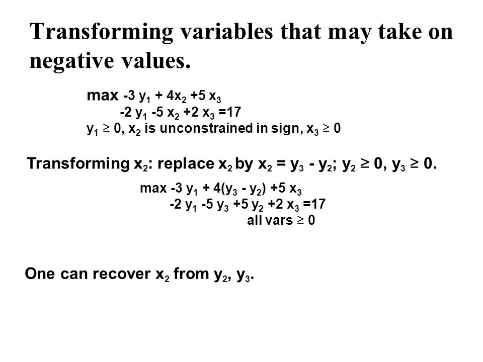 Transforming variables that may take on negative values.