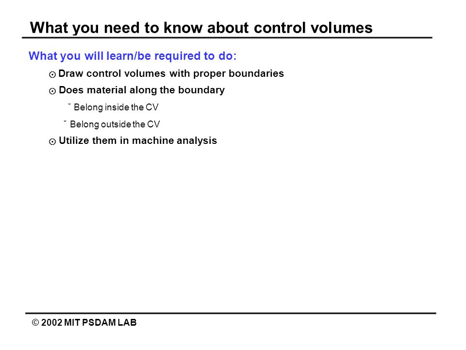 What you need to know about control volumes
