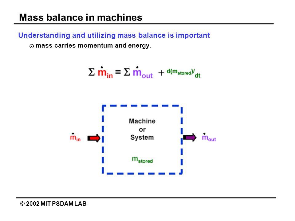 Mass balance in machines