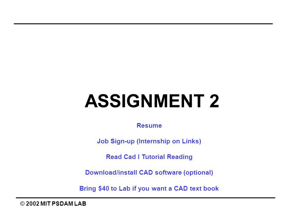 ASSIGNMENT 2 Resume Job Sign-up (Internship on Links)