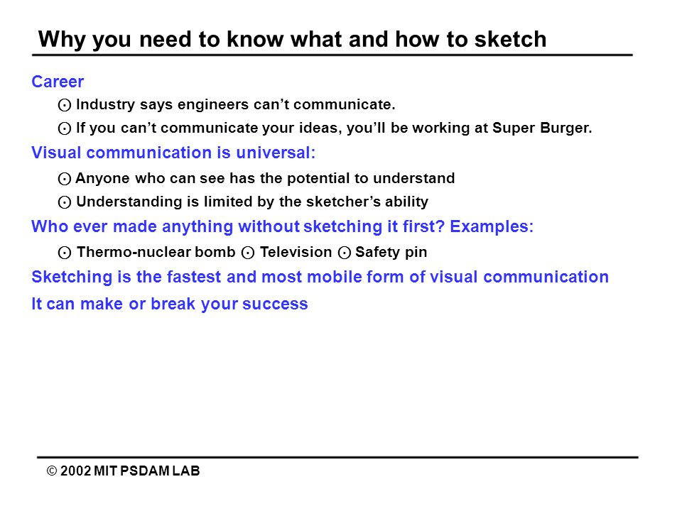 Why you need to know what and how to sketch