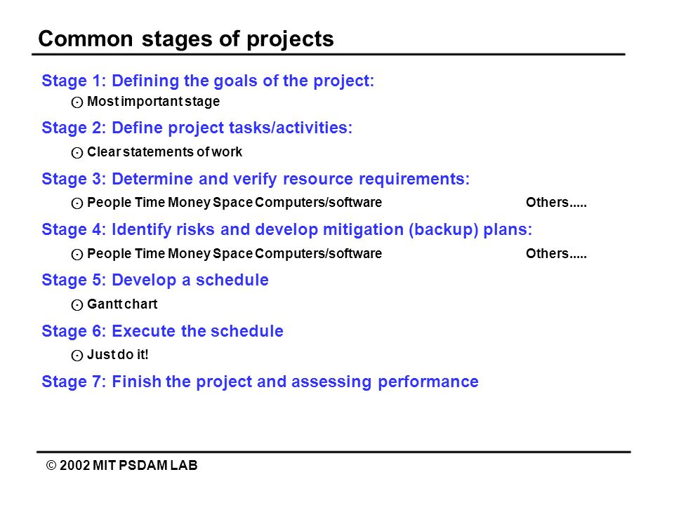 Common stages of projects