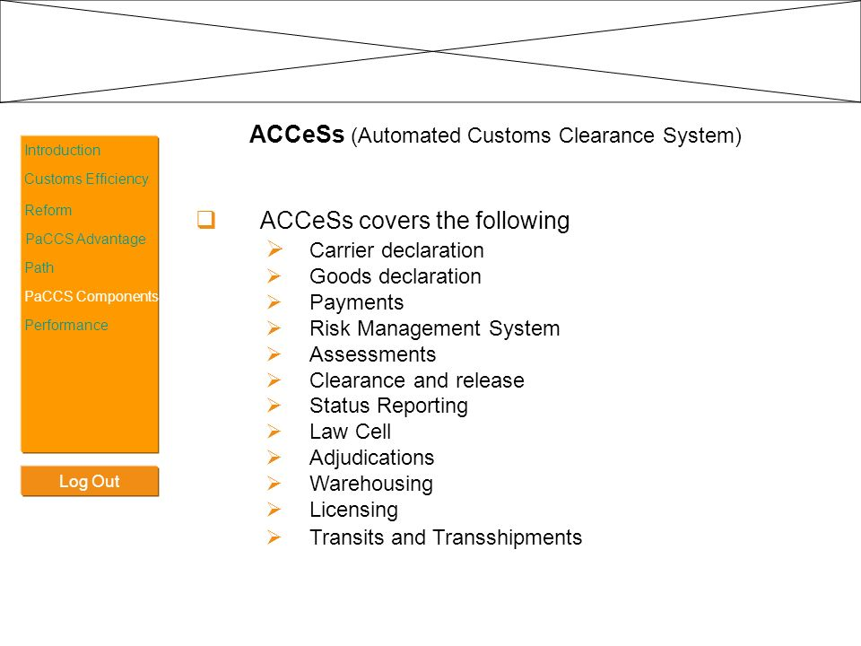 ACCeSs (Automated Customs Clearance System)