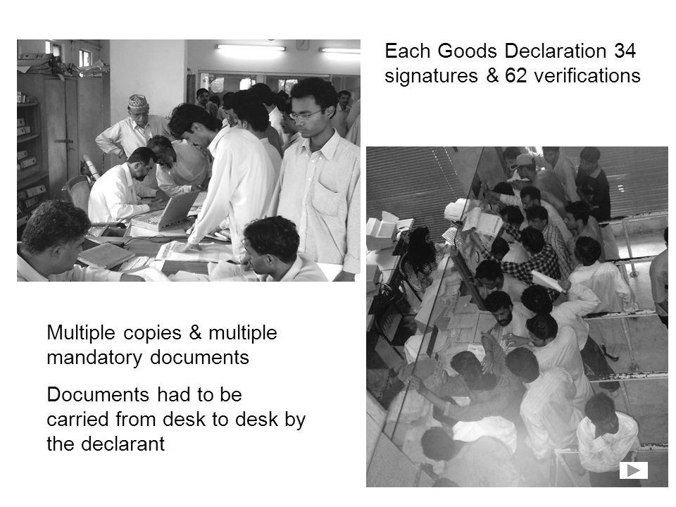 Each Goods Declaration 34 signatures & 62 verifications