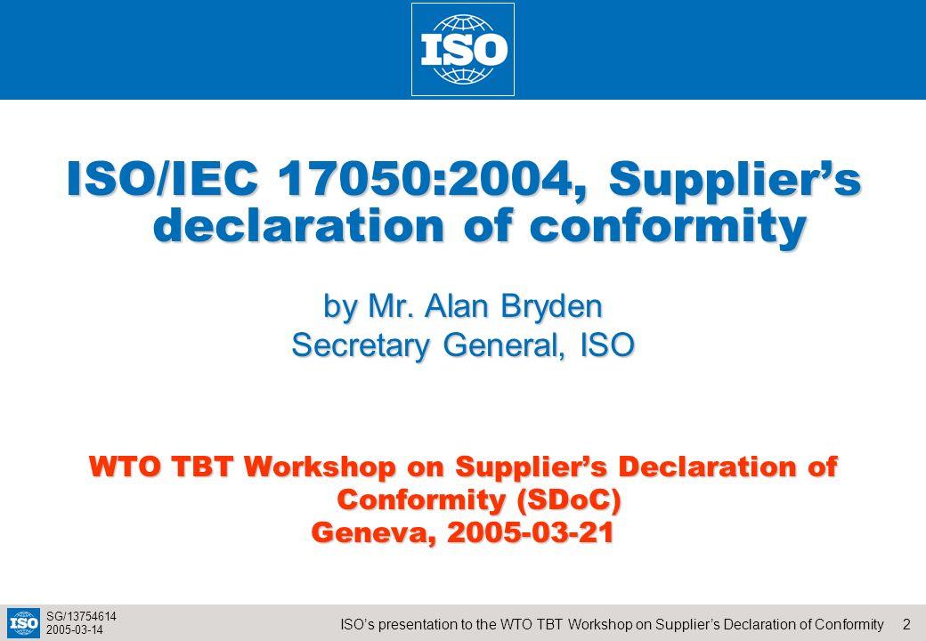 ISO/IEC 17050:2004, Supplier's declaration of conformity
