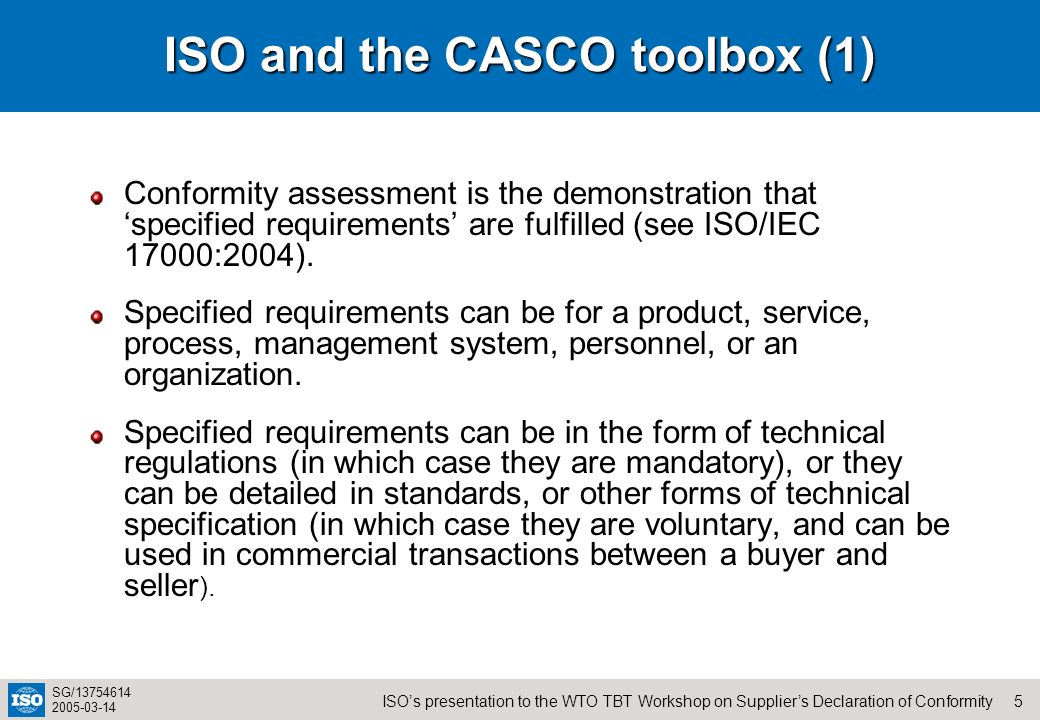 ISO and the CASCO toolbox (1)