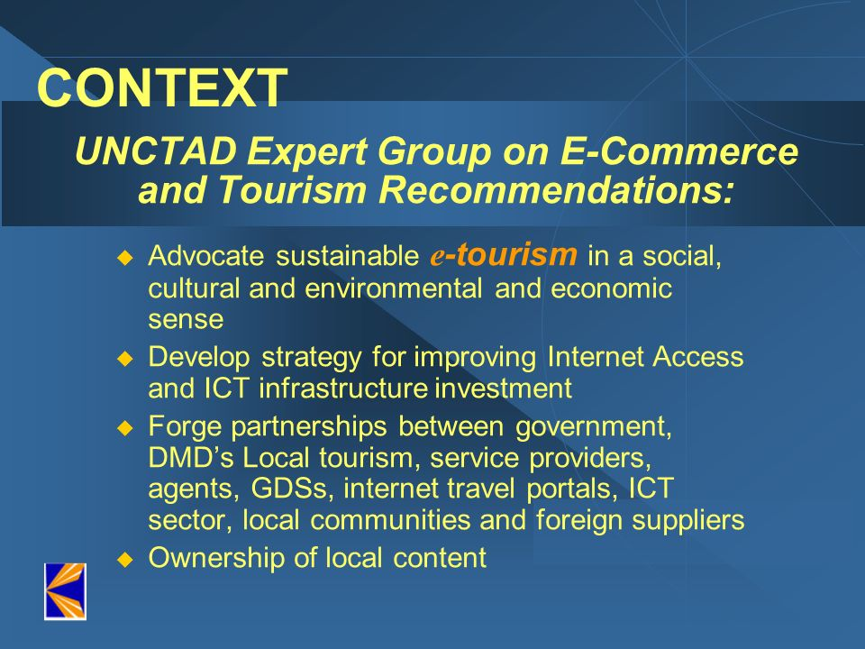 UNCTAD Expert Group on E-Commerce and Tourism Recommendations: