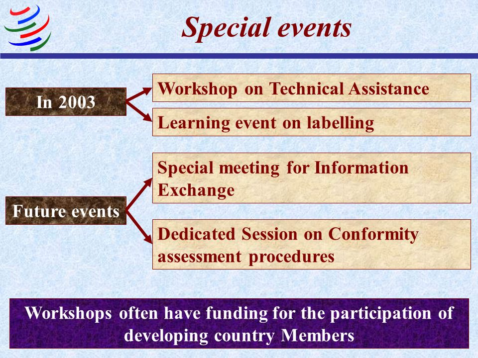 Special events Workshop on Technical Assistance In 2003