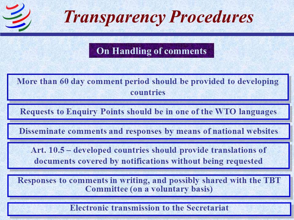 Transparency Procedures