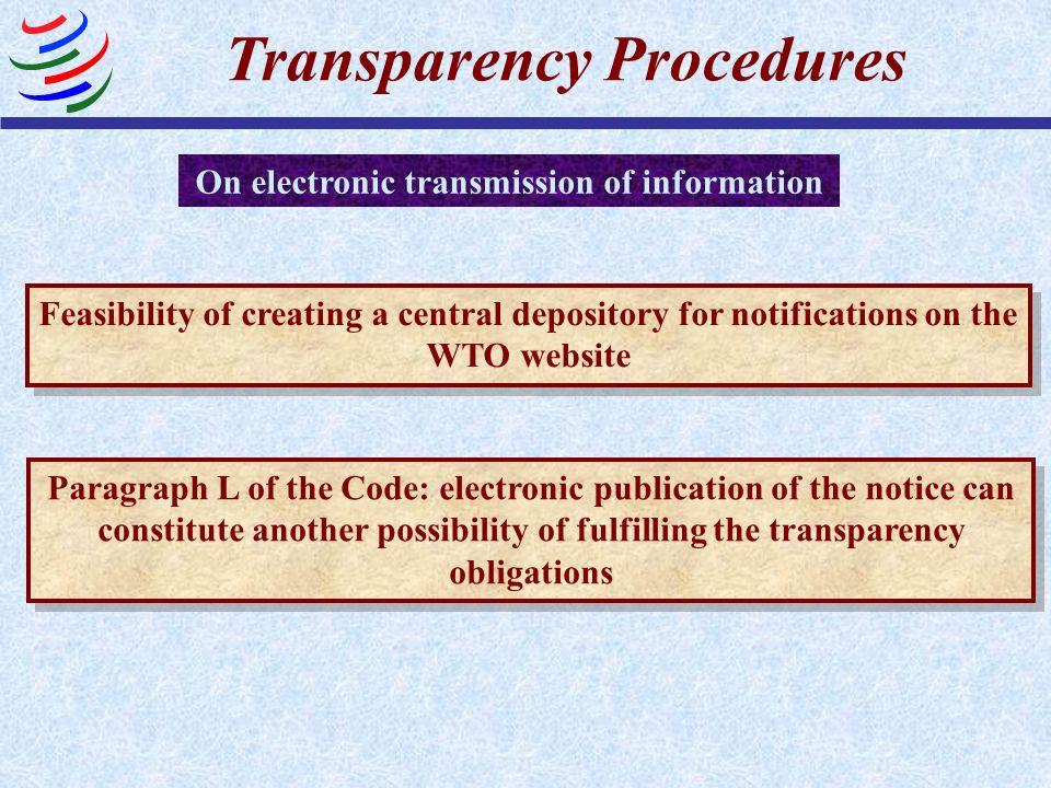 Transparency Procedures On electronic transmission of information