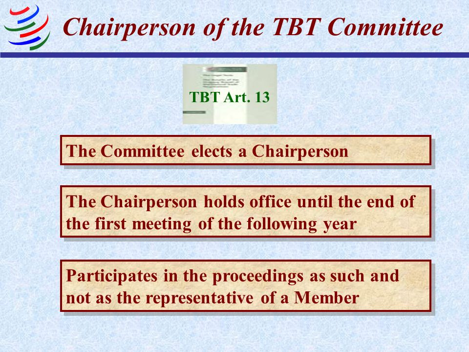 Chairperson of the TBT Committee