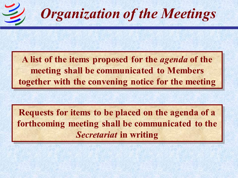 Organization of the Meetings