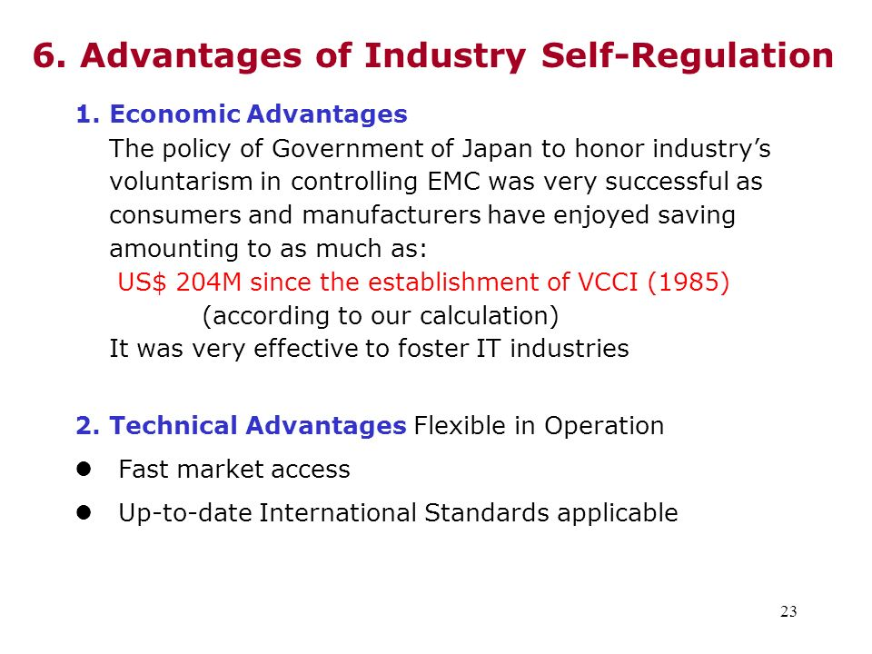 6. Advantages of Industry Self-Regulation
