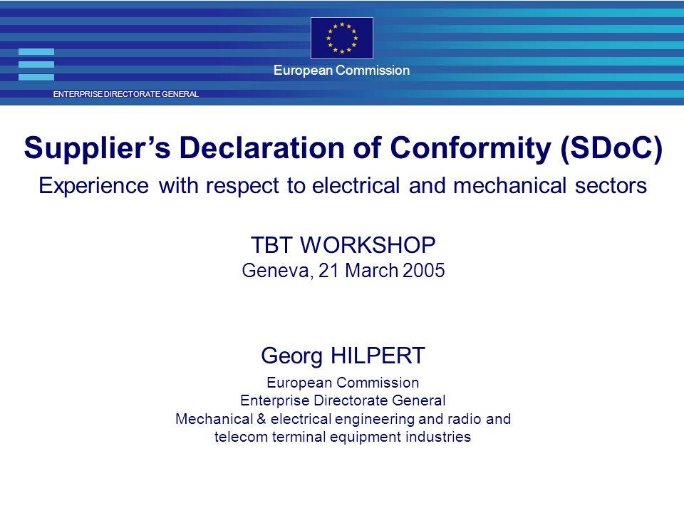 Supplier's Declaration of Conformity (SDoC)