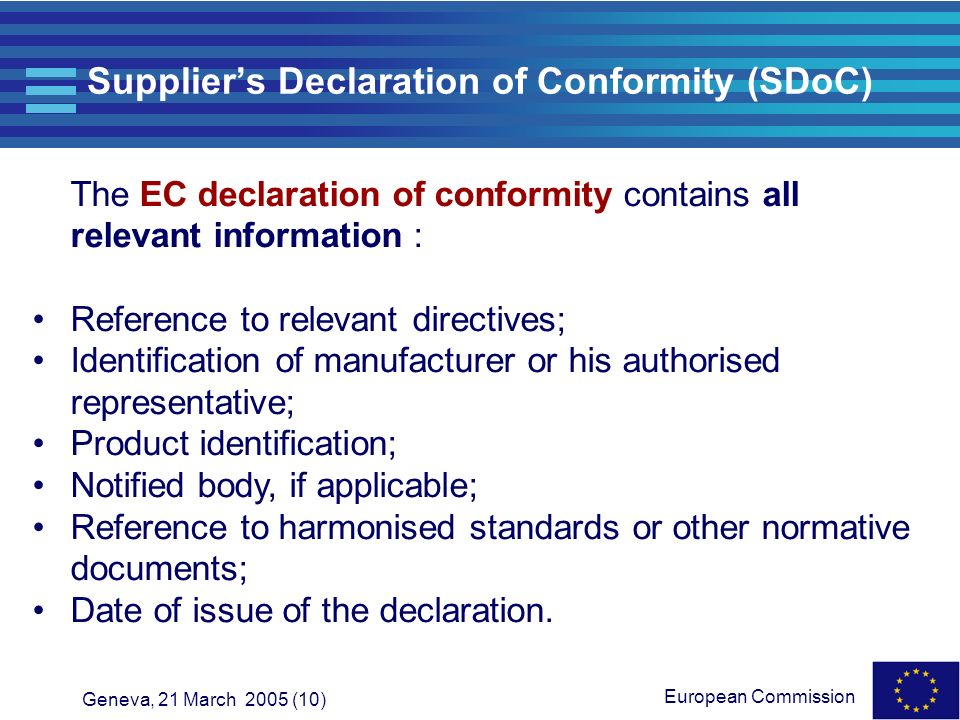 Supplier's Declaration of Conformity (SDoC)