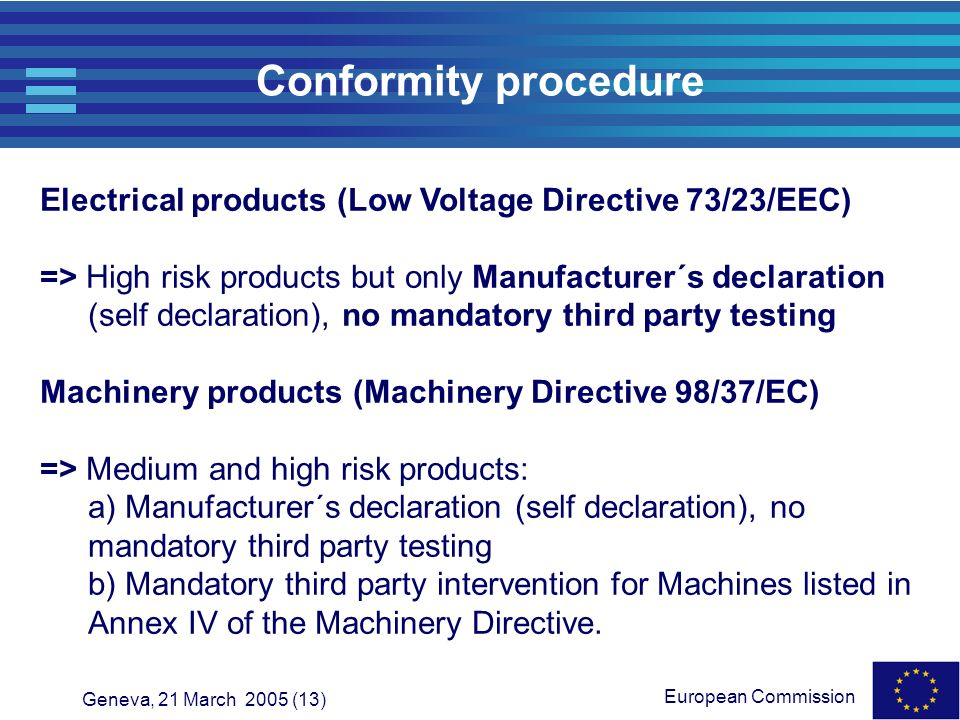 Conformity procedure Electrical products (Low Voltage Directive 73/23/EEC)