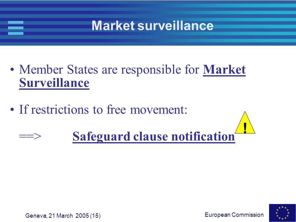 Market surveillance Member States are responsible for Market Surveillance. If restrictions to free movement: