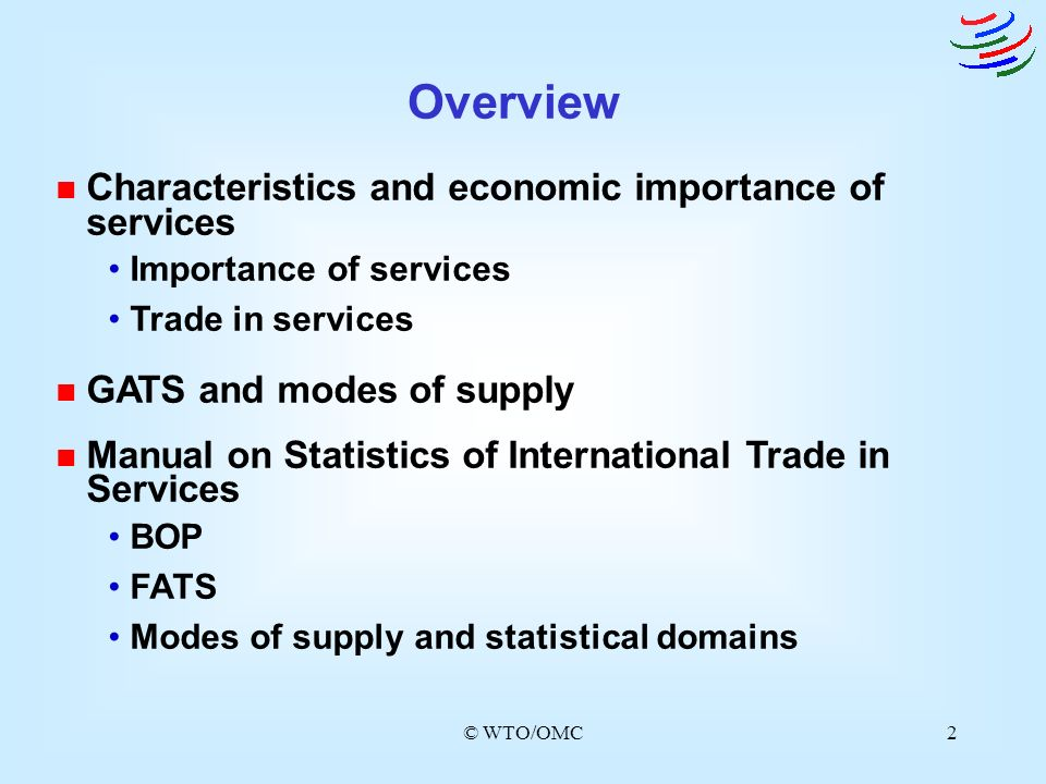 Overview Characteristics and economic importance of services