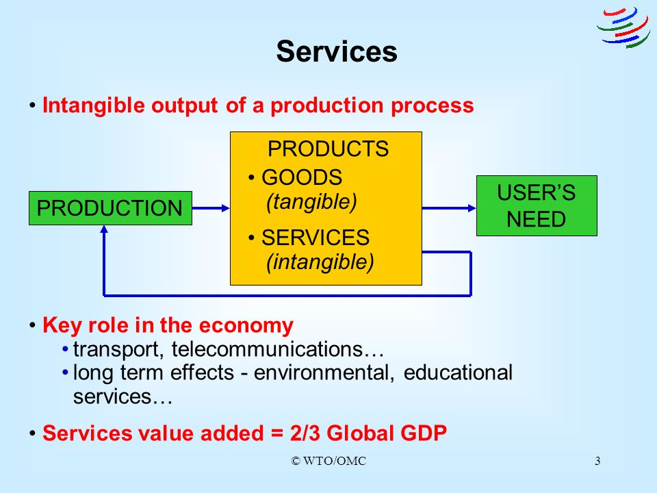 Services Intangible output of a production process PRODUCTS GOODS