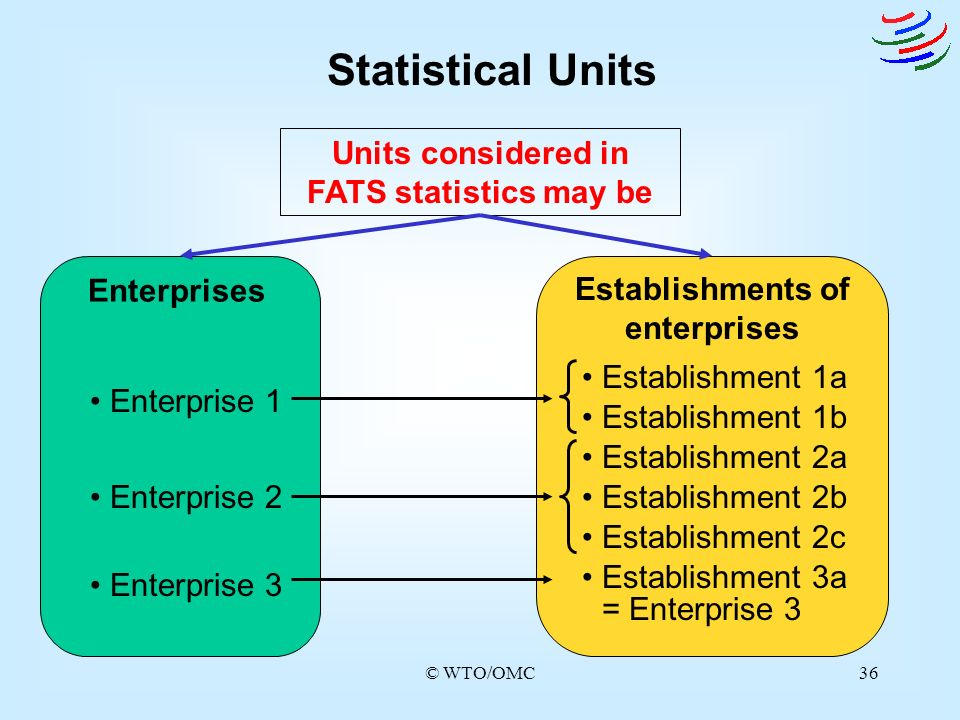 Statistical Units Units considered in FATS statistics may be