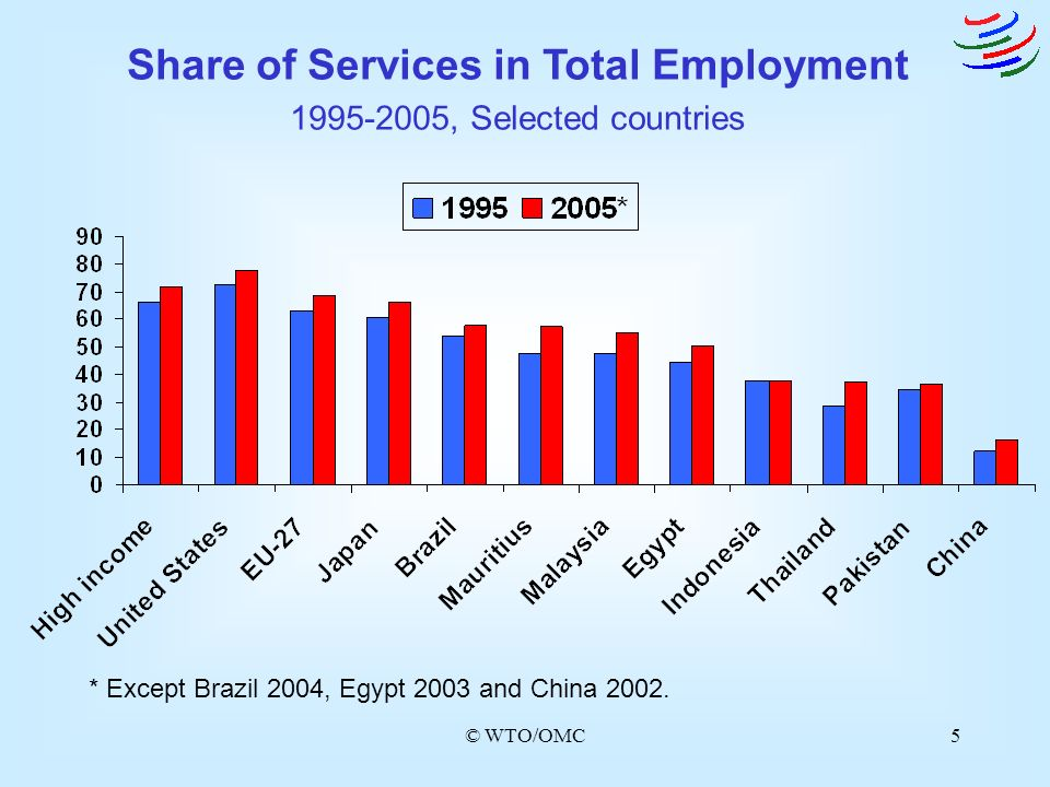 Share of Services in Total Employment 1995-2005, Selected countries