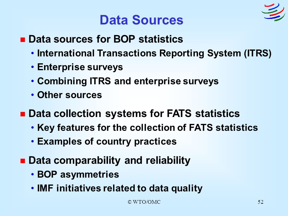Data Sources Data sources for BOP statistics