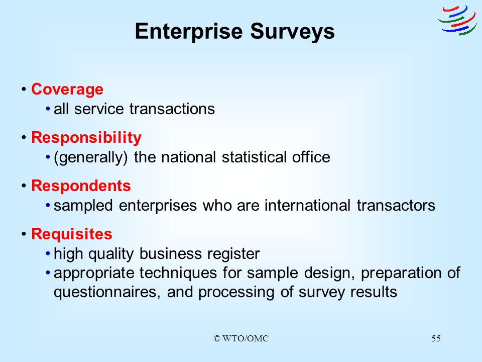 Enterprise Surveys Coverage all service transactions Responsibility