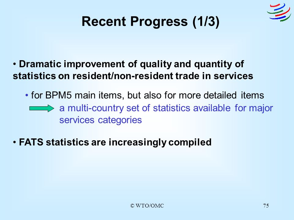 Recent Progress (1/3) Dramatic improvement of quality and quantity of statistics on resident/non-resident trade in services.