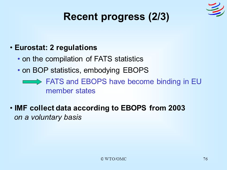 Recent progress (2/3) Eurostat: 2 regulations
