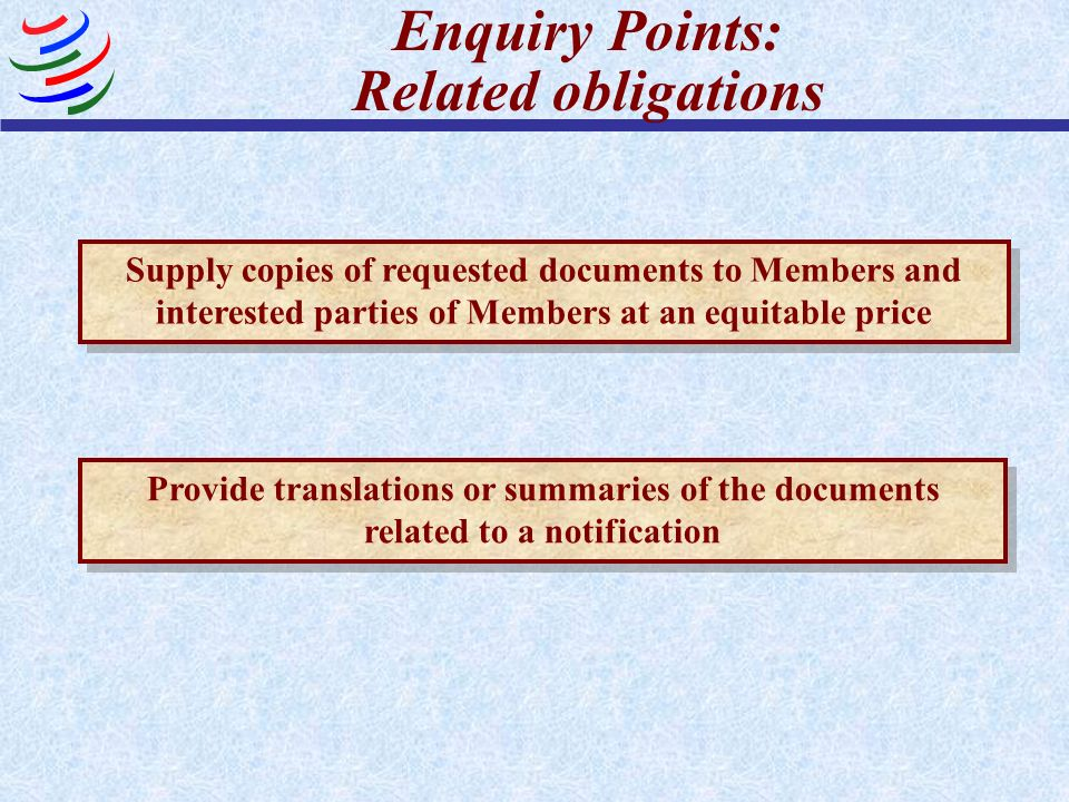 Enquiry Points: Related obligations