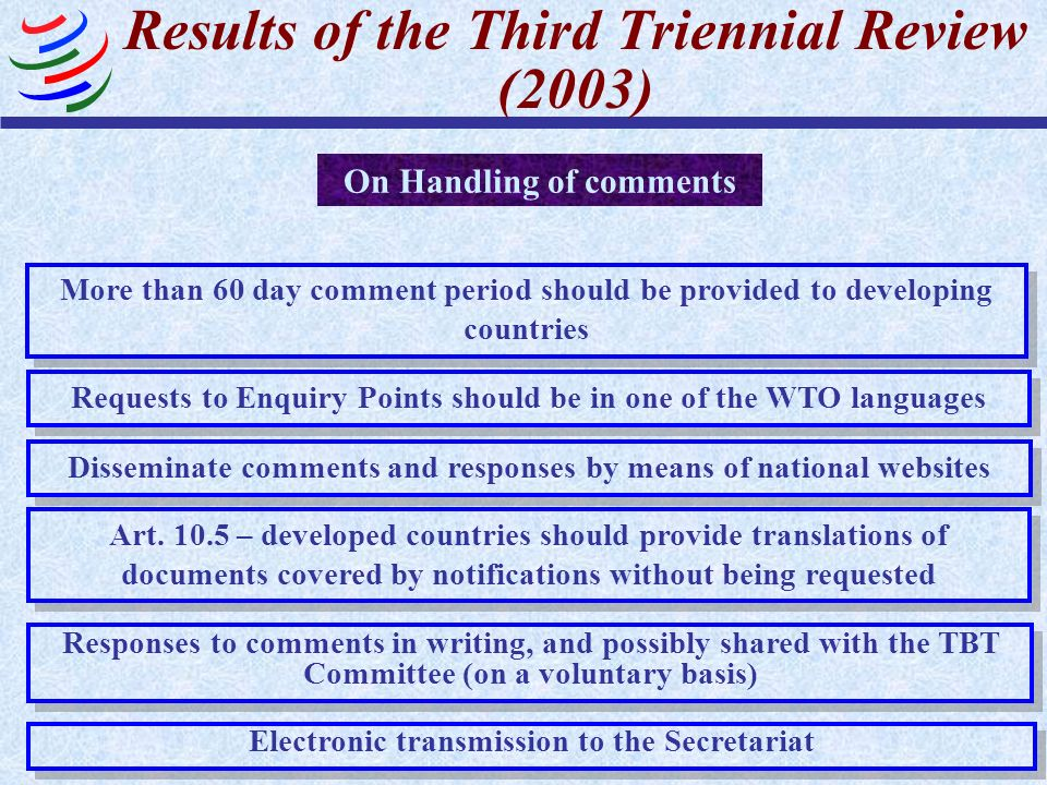 Results of the Third Triennial Review (2003)