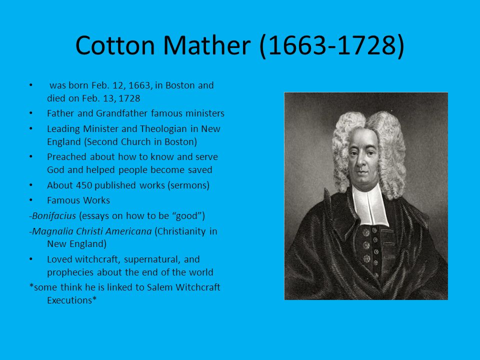 cotton mather bonifacius essays to do good 1710 cotton mather, bonifacius (essays to do good), a book that influenced benjamin franklin 1715-1719 1715 yamasee tribes attack and kill several hundred carolina settlers.