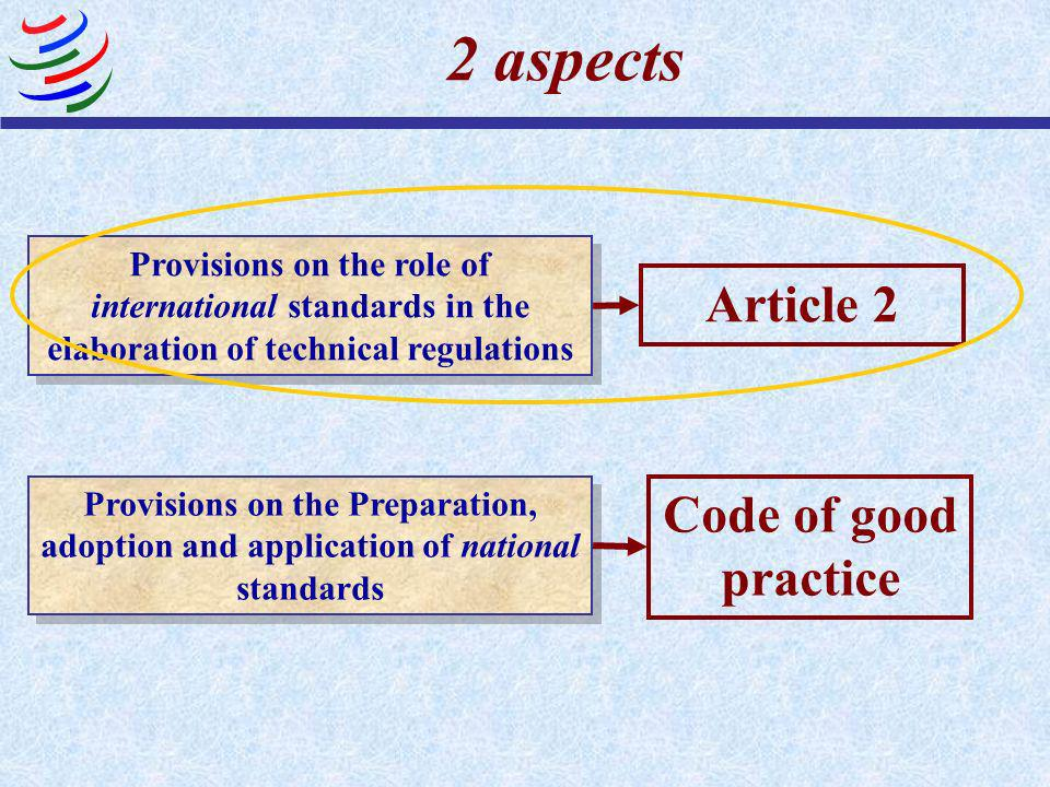 2 aspects Article 2 Code of good practice