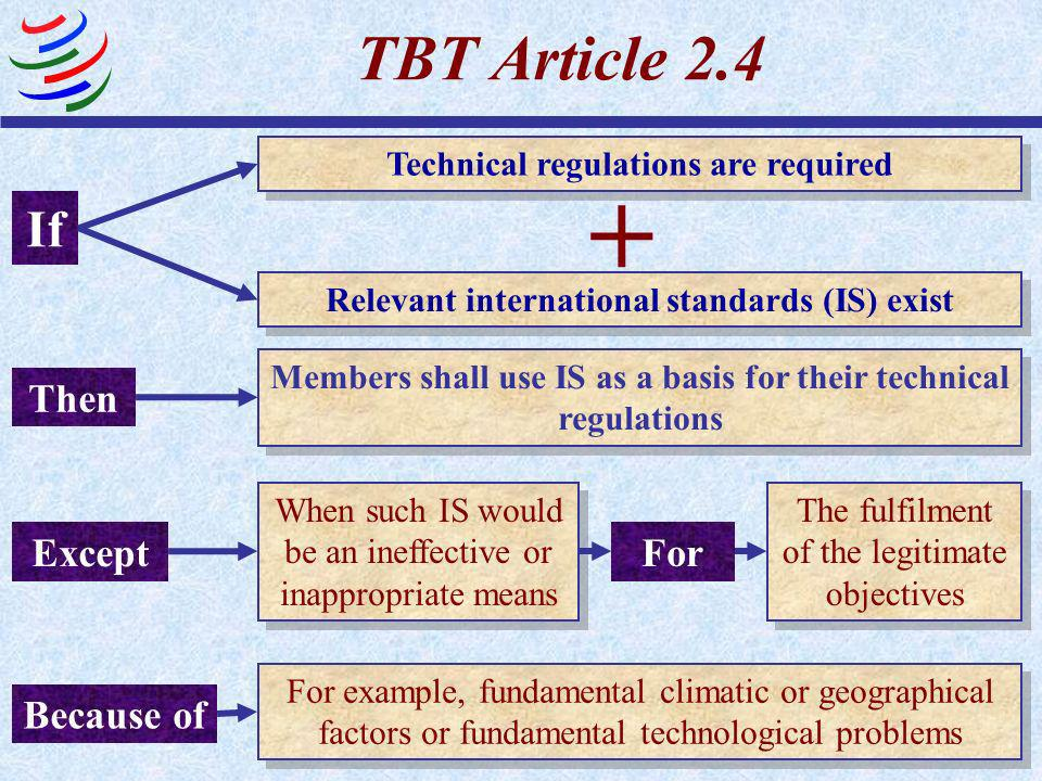 + TBT Article 2.4 If Then Except For Because of