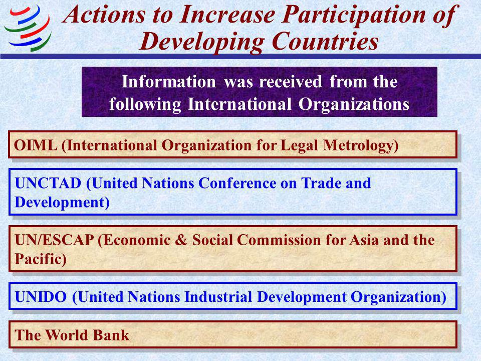Actions to Increase Participation of Developing Countries