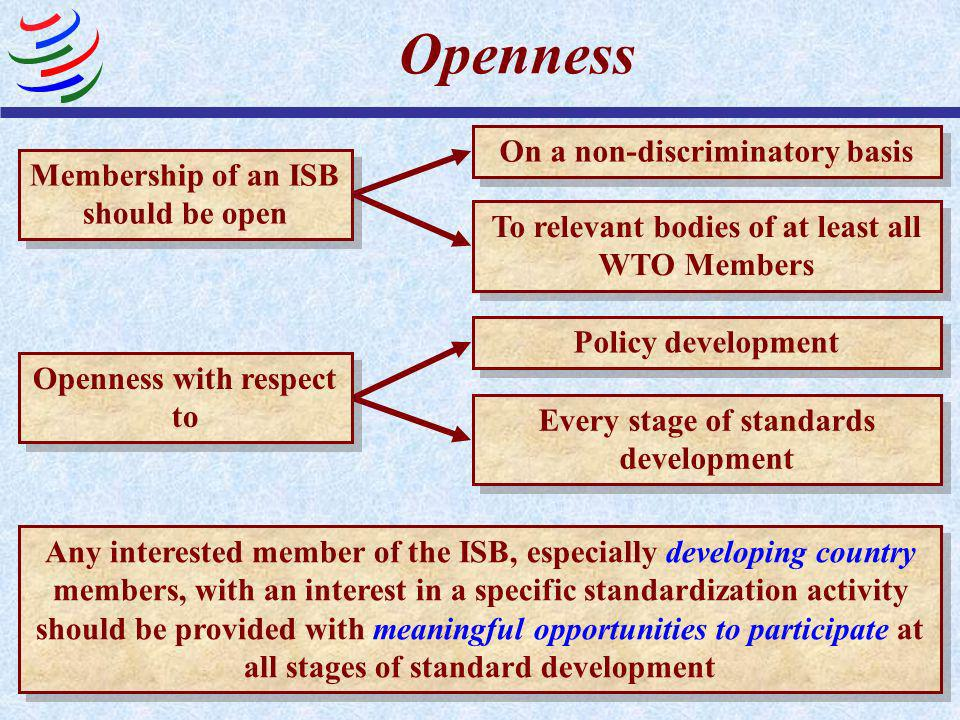 Openness On a non-discriminatory basis