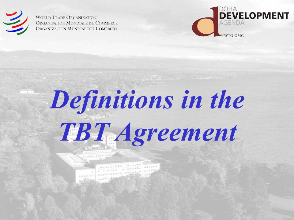 Definitions in the TBT Agreement