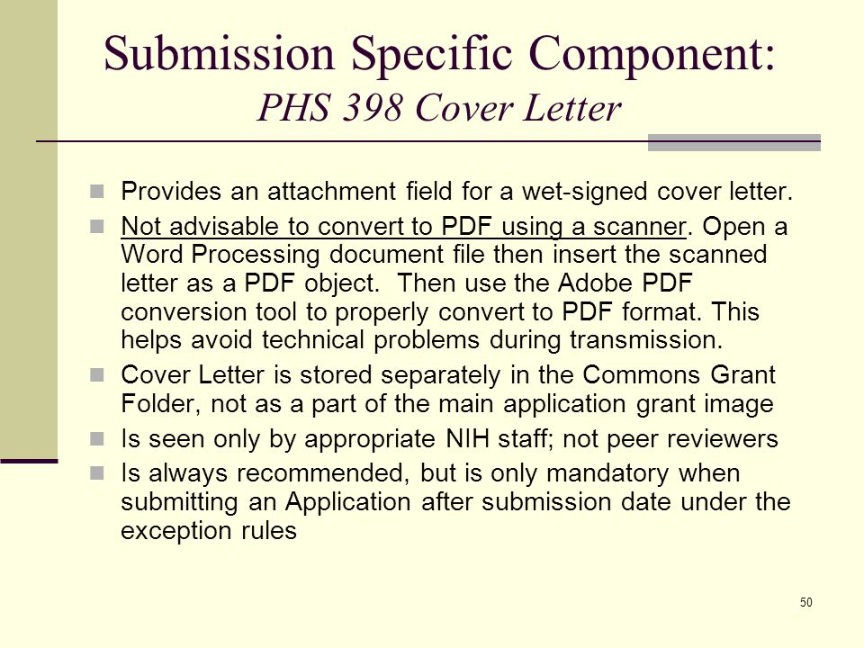 nih grant submission cover letter