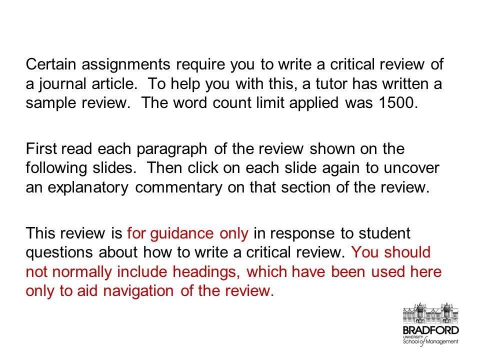 Critical appraisal sample essay