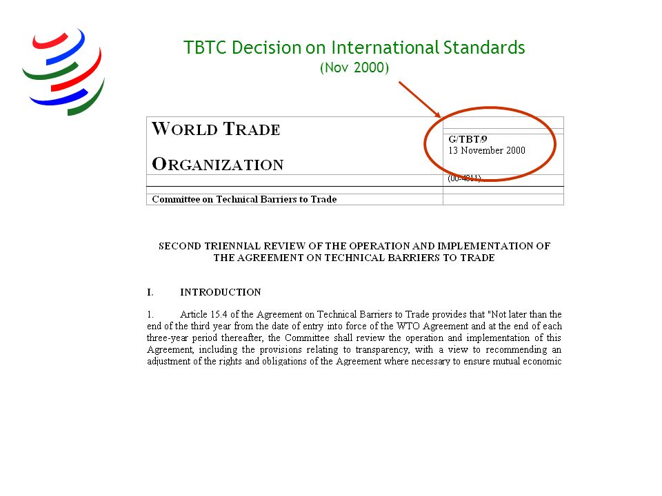 TBTC Decision on International Standards (Nov 2000)